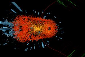 Een deeltjesbotsing.  Bron: Cern.