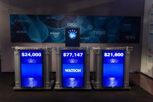Watson won in 2011 op overtuigende wijze het populaire Amerikaanse quizspel Jeopardy! Beeld: WikimediaCommons/Atomic Taco