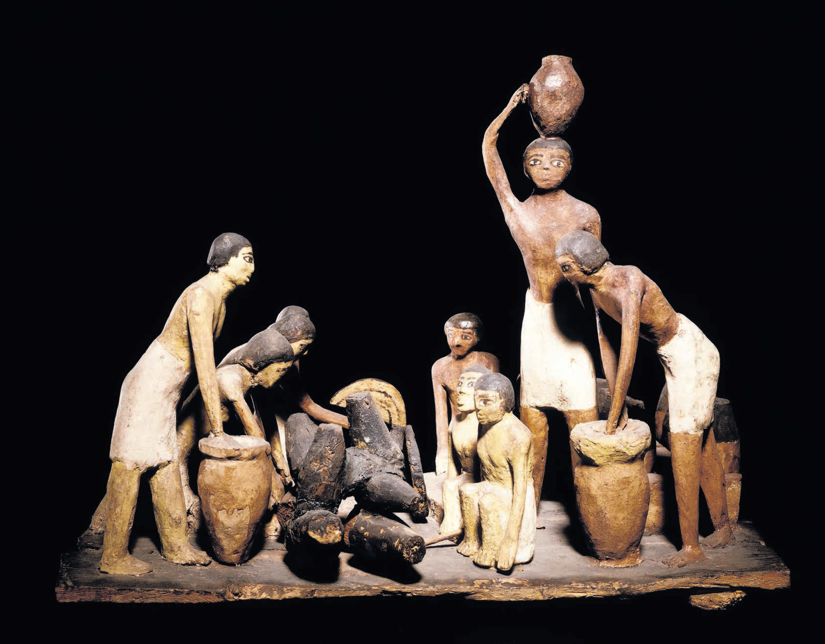 Model van oud-Egyptische bierbrouwerij. FOTO RIJKSMUSEUM VAN OUDHEDEN