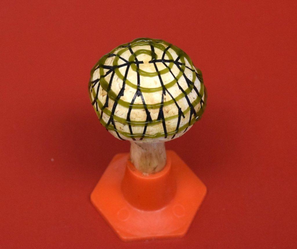 Bionische champignon met een elektrisch netwerkje (vertakte patroon) en cyanobacteriën (spiraalpatroon) op de hoed geprint produceert bio- elektriciteit. Bron: American Chemical Society