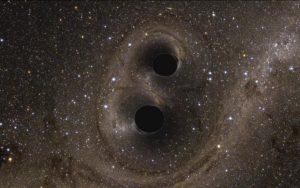 De fatale dans van de twee botsende zwarte gaten veroorzaakte de zwaartekrachtsgolf die gisteren de fysicagemeenschap op z'n kop zette
