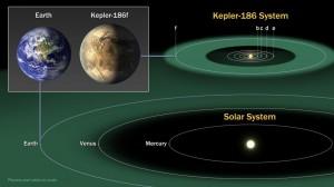 Het zonnestelsel Kepler-186, inclusief de nieuwe exoplaneet. Afbeelding: NASA