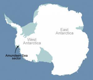 De gletsjers op het westelijke deel van de zuidpool verdwijnen uiteindelijk. Credit: NASA