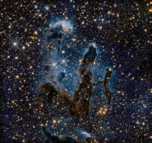Dezelfde opname, ditmaal in het infrarood. Bron: NASA/ESA
