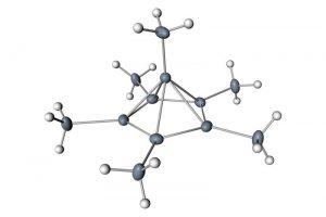 Hexamethylbenzene kan in een extreem koude en zure omgeving de vorm hebben van een piramide. Het bovenste koolstofatoom bindt hierbij met zes andere atomen. Beeld: Moritz Malischewski & Konrad Seppelt