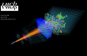 Een botsing in het LHCb experiment, waarbij diverse deeltjes ontstaan. Beeld: CERN/LHCb