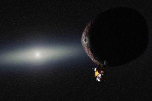 Artistieke impressie van New Horzions en een Pluto-achtig object in de Kuipergordel. Beeld: NASA/JHUAPL/SwRI/Alex Parker