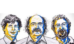 David Thouless, Duncan Haldane en Michael Kosterlitz ontvangen de Nobelprijs voor Natuurkunde. Beeld: N. Elmehed. © Nobel Media 2016.