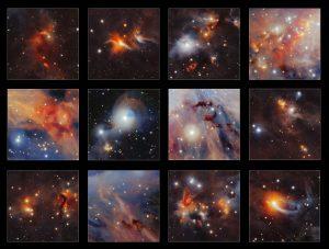 Verzameling details van de infraroodopname van de moleculaire wolk Orion A, die gemaakt is met de VISTA-telescoop. Kun je ze allemaal terugvinden? Beeld: ESO/VISION survey