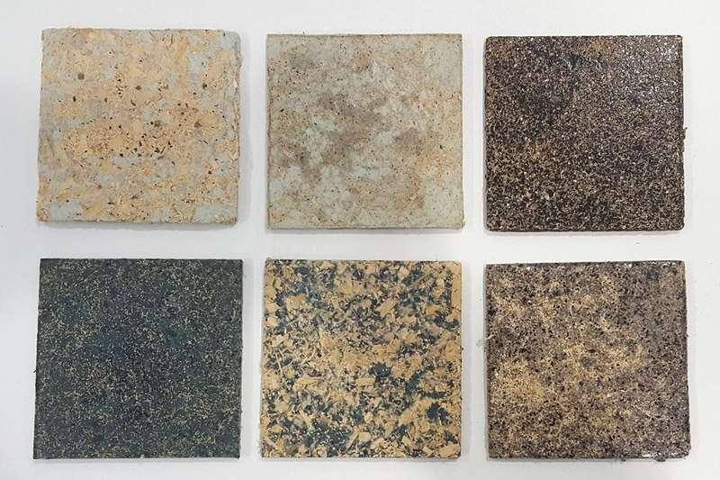 Panelen die gemaakt zijn van afgedankte kleding. Beeld: Veena Sahajwalla/Universiteit van Nieuw-Zuid-Wales