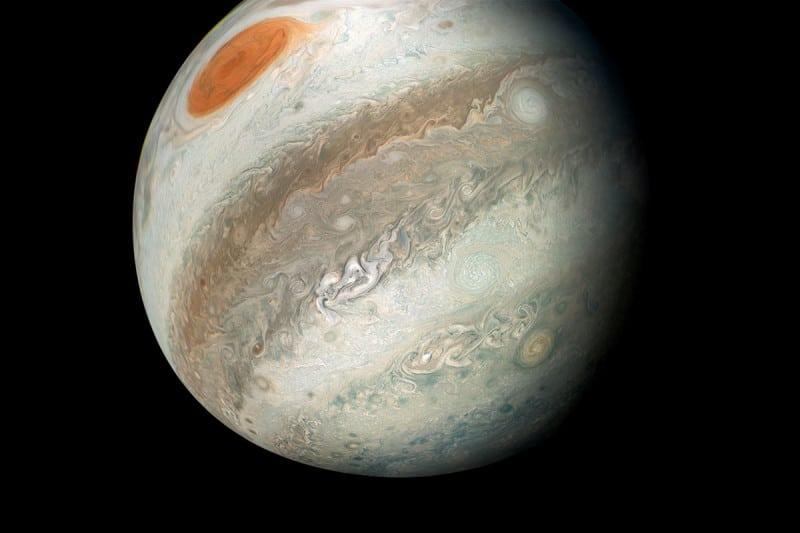 Jupiter is de planeet met het grootste aantal manen in het zonnestelsel. Beeld: NASA/JPL-Caltech/SwRI/MSSS/Gerald Eichstad/Sean Doran
