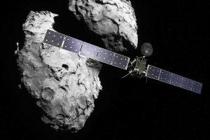 Rosetta en 67P/Churyumov-Gerasimenko. De komeet bevat bouwstenen van het leven. Bron: ESA/ATG medialab/Rosetta/Navcam
