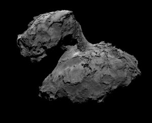 67P, op de gevoelige plaat vastgelegd door de camera's van Rosetta. Bron: ESA