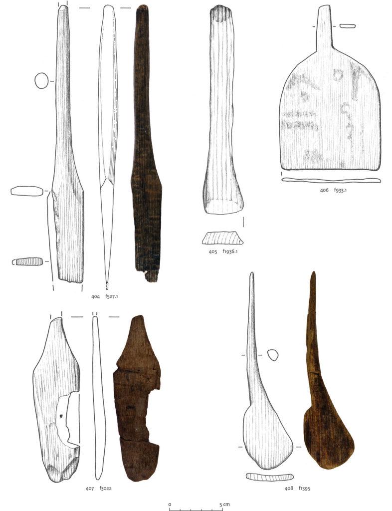 Houten spatels opgegraven in Velsen