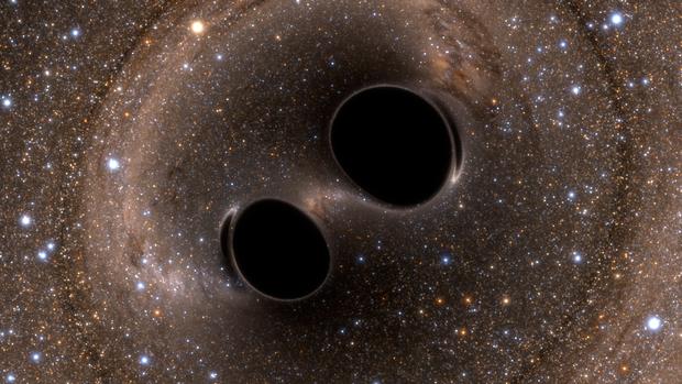 Het botsen van twee zwarte gaten heeft de zwaartekrachtsgolven aan het licht gebracht.